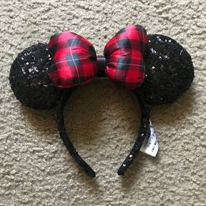 Sequin & Plaid Bow Minnie Mouse Disneyland Ears
